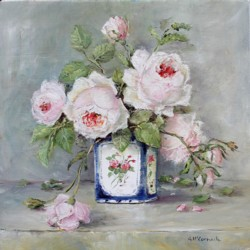 Original Painting on Panel - Roses in a Blue & White Vase - Postage is included Australia Wide