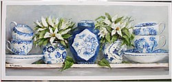 Original Painting on Panel - Blue & White China on a Shelf - Postage is included Australia Wide