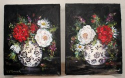 Pair of Original Paintings on Canvas - Florals on black - Postage is included Australia Wide
