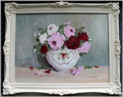 Original Painting - Large size - Display of Assorted Roses- Postage is included Australia wide