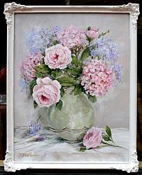 Original Painting - My Garden Hydrangeas and Roses - Postage is included in the price Australia wide
