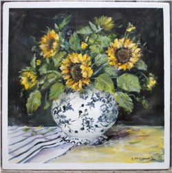 Original Painting on Panel - Sunflowers in a black and white vase - Postage is included Australia Wide