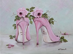 Original Whimsical Painting - Shoes & Roses - Postage is included Australia Wide