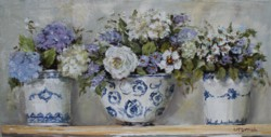 Original Painting on Panel - Mixture of flowers in blue and white pots - Postage is included Australia Wide