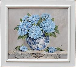 Original Painting - Blue Hydrangeas on a Scrolly Shelf - Postage is included Australia Wide
