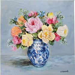 Original Painting on Canvas - Fresh Market Flowers - 35 x 35cm