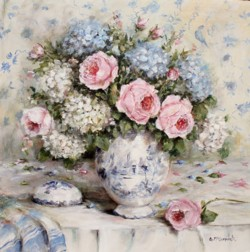 Original Painting on Panel - Still Life Florals with Favourite Blue & Whites - Postage is included Australia Wide