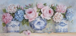 Original Painting on Panel - Roses & Hydrangeas in blue and white pots - Postage is included Australia Wide