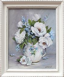 Original Painting - White Garden Roses - FREE POSTAGE Australia wide