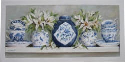 Original Painting on Panel - Blue & White China with Lillies- Postage is included Australia Wide