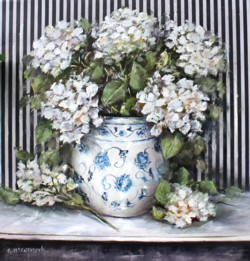 Original Painting on Panel - Hydrangeas with Black striped background - Postage is included Australia Wide