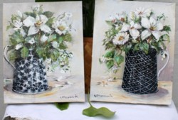 Pair of Original Paintings on Canvas - Whites in Black & White Jug - Postage is included Australia Wide