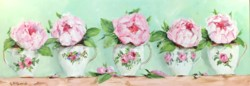 Original Painting on Panel - Peonies in Tea Cups - Postage included Australia wide