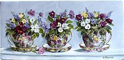 3 Chintz Cups - Original Painting - Postage is included Australia wide