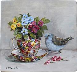 Bird and Chintz Teacup - Original Painting - Postage is included Australia wide
