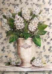 Original Mixed Media on Panel - Blooms with Black Patterned background - Postage is included Australia Wide