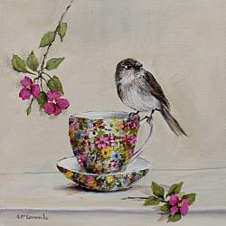 Original Painting on Canvas - Bird on a Chintz Tea Cup - Postage included Aus wide