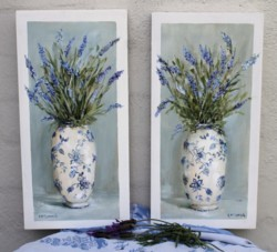 Original Pair of Paintings on Panels - Lavenders in blue & white vases - Postage is included Australia Wide