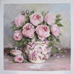 "Original Painting on Panel - ""Peonies"" - Postage is included Australia Wide"