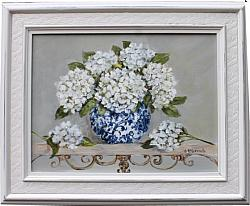 Original Painting - White Hydrangeas on a Scrolly Shelf - Postage is included Australia Wide