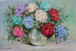 Original Painting on Panel - Colourful Hydrangeas - Postage is included Australia Wide