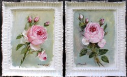 Pair of Original Paintings - Rose studies - Postage is included Australia Wide