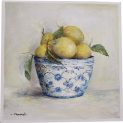Original Painting on Panel - Lemons in a Blue & White Bowl - sold