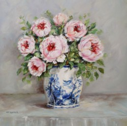 Original Painting on Panel - Peonies in Blue & White - Postage is included Australia Wide