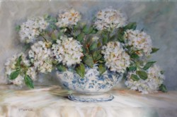 Original Painting on Panel - Display of Hydrangeas in Blue & White Tureen - Postage is included Australia Wide