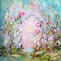 Original Painting on Panel - Abstract Enchanted Flower Forest - sold