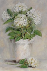 Original Painting on Panel - White Love Hydrangeas - Postage is included Australia Wide