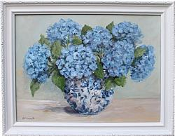 Original Painting - Blue Hydrangea Love - Postage is included Australia Wide