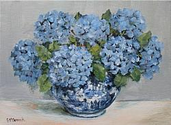 Original Painting on Canvas - Blue and White Bowl with Hydrangeas - Postage included Australia wide