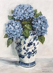 Original Painting on Canvas - Hydrangeas on White  SOLD