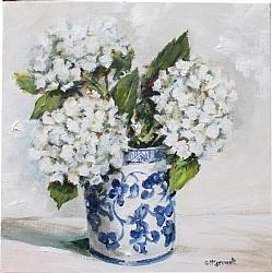 Original Painting on Canvas - B & W Pot with Hydrangeas - FREE postage Australia wide