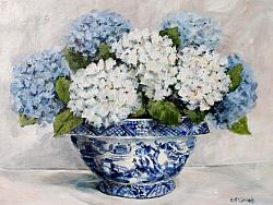 Original Painting on Canvas - Blue & White Hydrangeas - postage included Australia wide