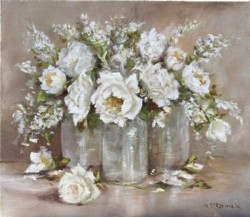 Original Painting - Whites on Linen - postage is included Australia wide