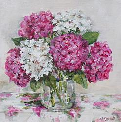 Original Painting on Canvas - Hydrangeas to make you smile - postage included Australia wide