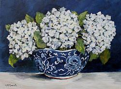 Original Painting on Canvas - Bowl of White Hydrangeas - postage included Australia wide