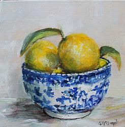 Original Painting on Canvas - Lemons in B & W - 20 x 20cm series