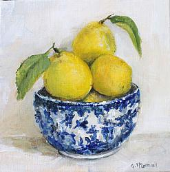 Original Painting on Canvas - Lemons in a Bowl - 20 x 20cm series