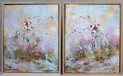 Pair of Original Paintings - Valley of Flowers - postage included Australia wide
