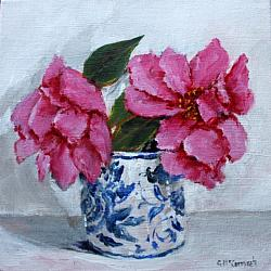 Original Painting on Canvas - Camellias in B & W - 20 x 20cm series