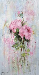 Original Painting on Panel - Textured Rose study - Postage is included Australia Wide