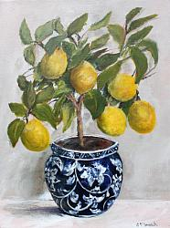 Original Painting on Canvas - Topiary Lemons in B & W - postage included Australia wide