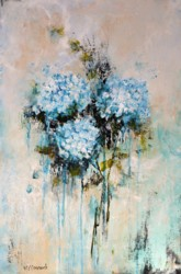 Original Painting on Panel - Blue Hydrangea Love - sold