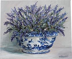 Original Painting on Canvas - Lavenders in a Pot - postage included Australia wide