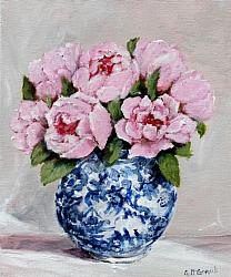 Original Painting on Canvas - Pinks in B & W - postage included Australia wide