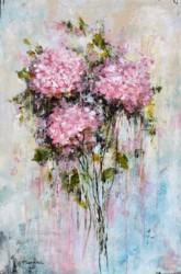 Original Painting on Panel - Pink Hydrangea Love - sold