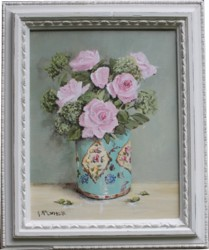 Original Painting - Roses in a Vintage Tin - Postage is included Australia Wide